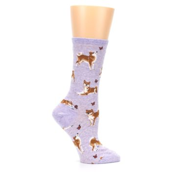 Image of Purple Shiba Inu Dogs Women's Dress Socks (side-1-25)