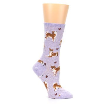 Image of Purple Shiba Inu Dogs Women's Dress Socks (side-1-26)