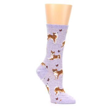 Image of Purple Shiba Inu Dogs Women's Dress Socks (side-1-27)