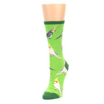 Image of Green Parrot Birds Women's Dress Socks (side-2-front-08)