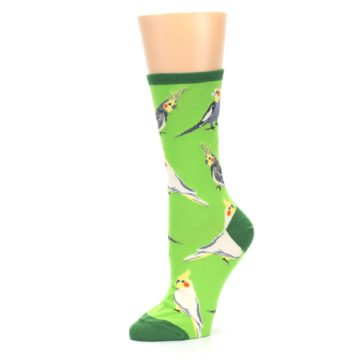 Image of Green Parrot Birds Women's Dress Socks (side-2-10)
