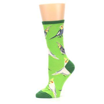 Image of Green Parrot Birds Women's Dress Socks (side-2-11)