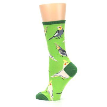 Image of Green Parrot Birds Women's Dress Socks (side-2-13)