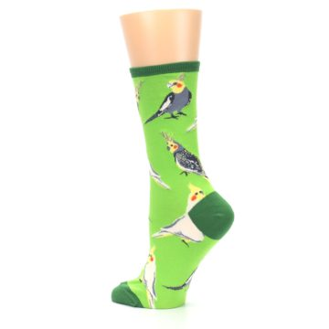 Image of Green Parrot Birds Women's Dress Socks (side-2-back-14)