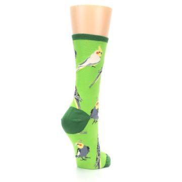 Image of Green Parrot Birds Women's Dress Socks (side-1-back-22)
