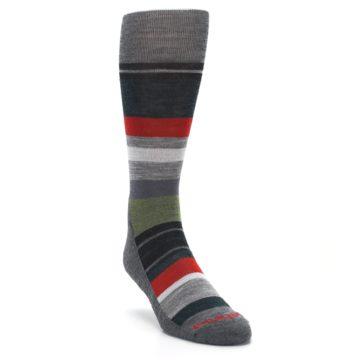Image of Gray Multi Stripe Wool Men's Casual Socks (side-1-front-02)