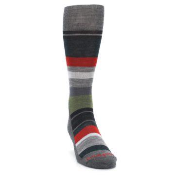 Image of Gray Multi Stripe Wool Men's Casual Socks (side-1-front-03)