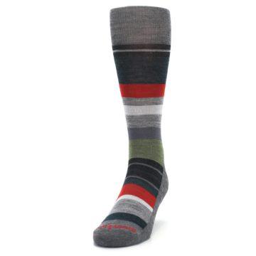 Image of Gray Multi Stripe Wool Men's Casual Socks (side-2-front-06)
