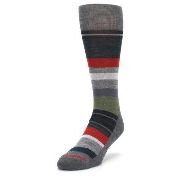 Image of Gray Multi Stripe Wool Men's Casual Socks (side-2-front-07)