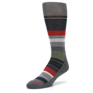 Image of Gray Multi Stripe Wool Men's Casual Socks (side-2-front-08)