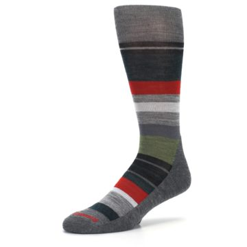 Image of Gray Multi Stripe Wool Men's Casual Socks (side-2-09)