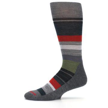 Image of Gray Multi Stripe Wool Men's Casual Socks (side-2-11)