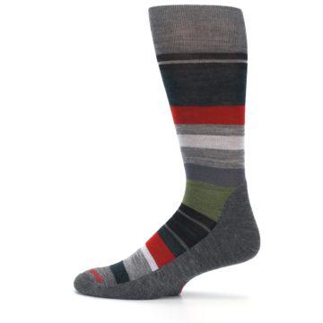 Image of Gray Multi Stripe Wool Men's Casual Socks (side-2-12)
