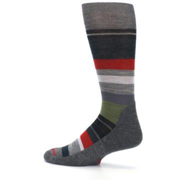 Image of Gray Multi Stripe Wool Men's Casual Socks (side-2-13)