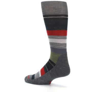 Image of Gray Multi Stripe Wool Men's Casual Socks (side-2-back-14)