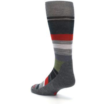 Image of Gray Multi Stripe Wool Men's Casual Socks (side-2-back-15)