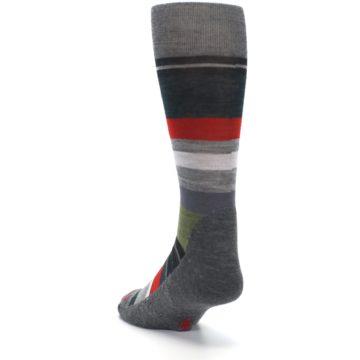 Image of Gray Multi Stripe Wool Men's Casual Socks (side-2-back-16)