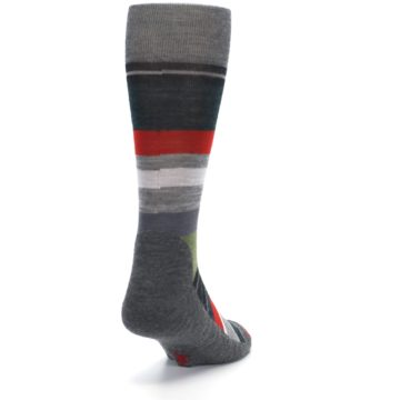 Image of Gray Multi Stripe Wool Men's Casual Socks (side-1-back-20)