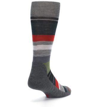 Image of Gray Multi Stripe Wool Men's Casual Socks (side-1-back-21)