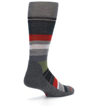 Image of Gray Multi Stripe Wool Men's Casual Socks (side-1-back-22)