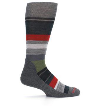 Image of Gray Multi Stripe Wool Men's Casual Socks (side-1-24)