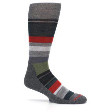 Image of Gray Multi Stripe Wool Men's Casual Socks (side-1-25)