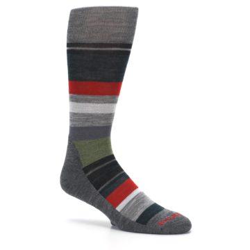 Image of Gray Multi Stripe Wool Men's Casual Socks (side-1-26)