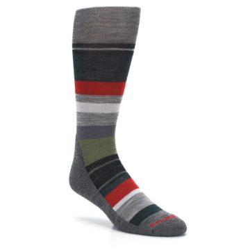 Image of Gray Multi Stripe Wool Men's Casual Socks (side-1-27)