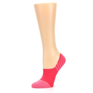 Image of Pink Stripes Women's No Show Liner Socks (side-2-10)