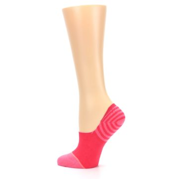 Image of Pink Stripes Women's No Show Liner Socks (side-2-13)