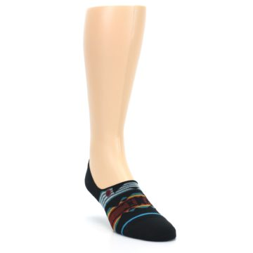 Image of Black Teal Tribal Pattern Men's No Show Liner Socks (side-1-front-02)