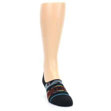 Image of Black Teal Tribal Pattern Men's No Show Liner Socks (side-1-front-03)