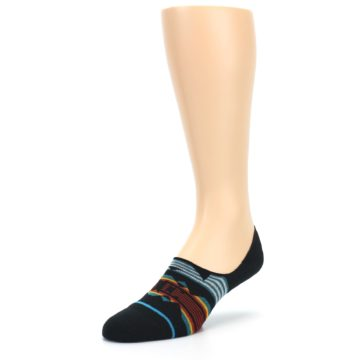 Image of Black Teal Tribal Pattern Men's No Show Liner Socks (side-2-front-08)