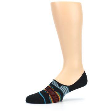 Image of Black Teal Tribal Pattern Men's No Show Liner Socks (side-2-10)