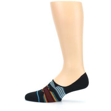 Image of Black Teal Tribal Pattern Men's No Show Liner Socks (side-2-12)