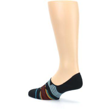 Image of Black Teal Tribal Pattern Men's No Show Liner Socks (side-2-back-14)