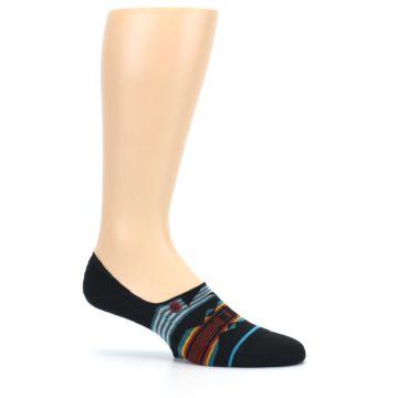 Image of Black Teal Tribal Pattern Men's No Show Liner Socks (side-1-25)