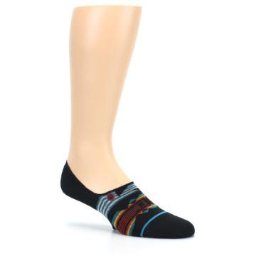Image of Black Teal Tribal Pattern Men's No Show Liner Socks (side-1-26)