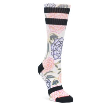 Image of Lilac Ice Posie Floral Women's Casual Sock (side-1-front-01)