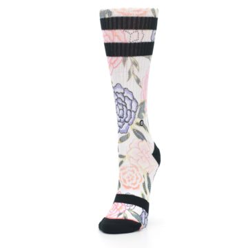 Image of Lilac Ice Posie Floral Women's Casual Sock (side-2-front-07)