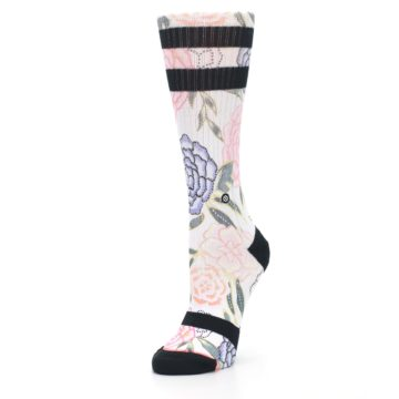 Image of Lilac Ice Posie Floral Women's Casual Sock (side-2-front-08)