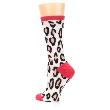 Image of Pink Leopard Print Women's Casual Sock (side-2-back-14)