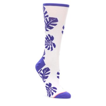 Image of Purple White Leaves Women's Casual Sock (side-1-front-01)