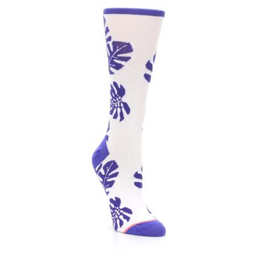 Image of Purple White Leaves Women's Casual Sock (side-1-front-02)