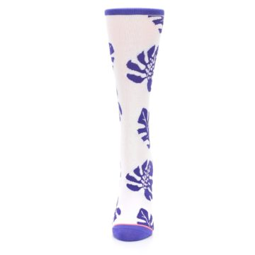 Image of Purple White Leaves Women's Casual Sock (side-2-front-06)