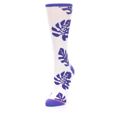 Image of Purple White Leaves Women's Casual Sock (side-2-front-08)