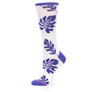 Image of Purple White Leaves Women's Casual Sock (side-2-11)