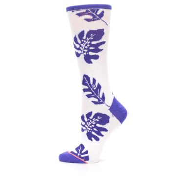 Image of Purple White Leaves Women's Casual Sock (side-2-12)