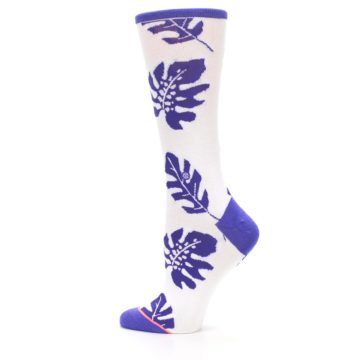 Image of Purple White Leaves Women's Casual Sock (side-2-13)