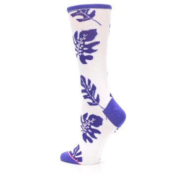 Image of Purple White Leaves Women's Casual Sock (side-2-back-14)